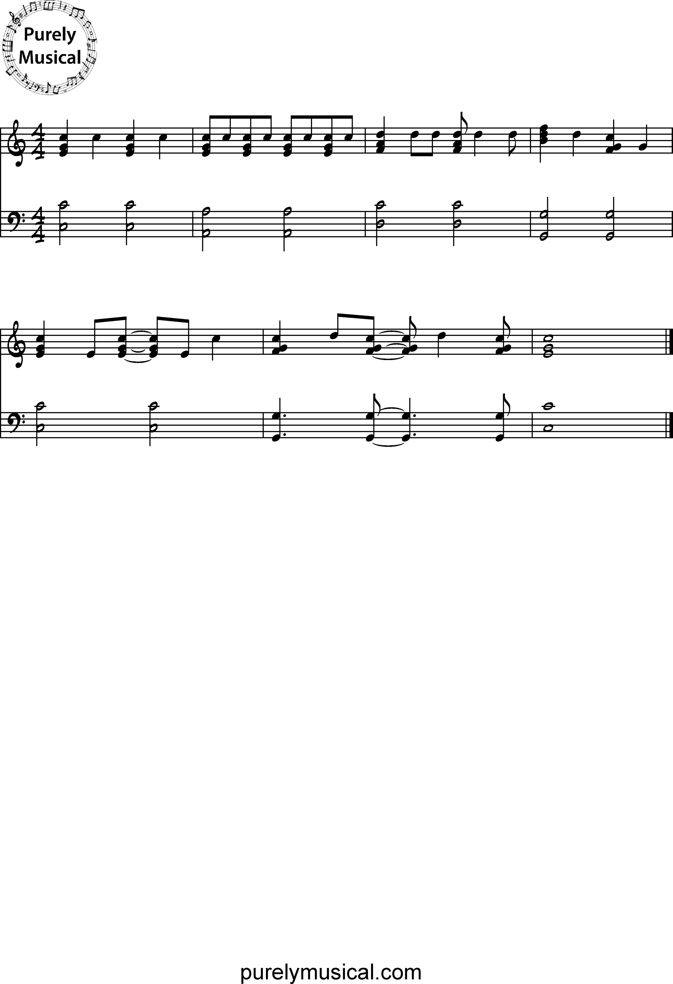 Intermediate  Exercise C Major Quarter Note Rhythm Exercise 1