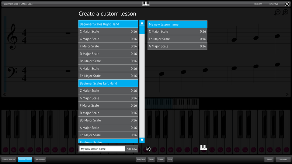 Purely Piano Screenshot Custom Lesson