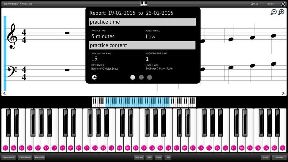 Purely Piano Screenshot Reporting Measuring Progress